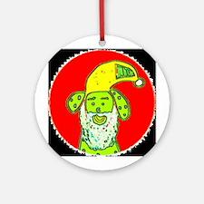 Santa Dog Christmas Holidays Ornament (Round)