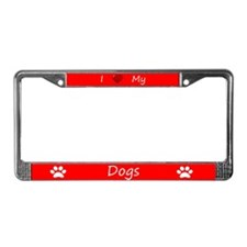 Red I Love My Dogs License Plate Frame