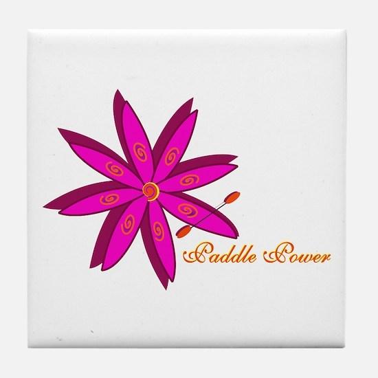 Kayak Paddle Power (Pink) Tile Coaster