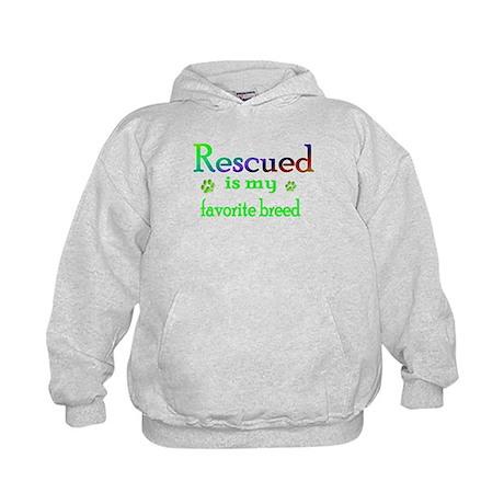 Rescued is my favorite breed Kids Hoodie