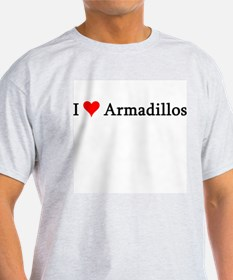 I Love Armadillos Ash Grey T-Shirt