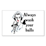 Retro Nurse Always wash your balls Sticker (Rectan