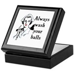 Retro Nurse Always wash your balls Keepsake Box