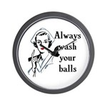 Retro Nurse Always wash your balls Wall Clock
