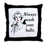 Retro Nurse Always wash your balls Throw Pillow