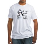 Retro Nurse Always wash your balls Fitted T-Shirt