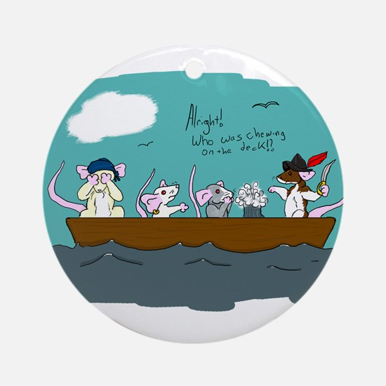 Trouble on Deck Ornament (Round)