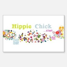 Hippie Chick at Heart Sticker (Rectangle)