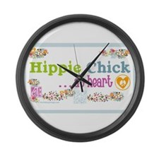 - Hippie Chick ... At Heart Large Wall Clock