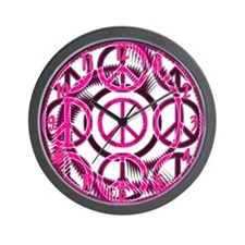 Pink Peace Symbols Wall Clock