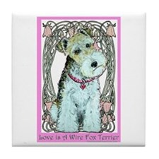 Love is a Wire Fox Terrier Tile Coaster
