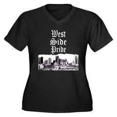 West Side Pride Women's Plus Size V-Neck Dark T-Sh