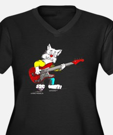Catoons™ Bass Guitar Cat Women's Plus Size V-Neck