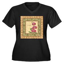 Unique Tropical wall Women's Plus Size V-Neck Dark T-Shirt