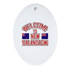 Welcome to New Zealand Town Oval Ornament