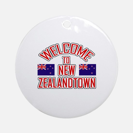 Welcome to New Zealand Town Ornament (Round)