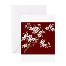 Japanese textile Cherry tree Greeting Card
