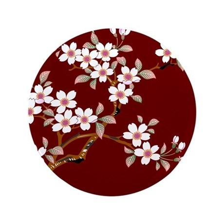 "Japanese textile Cherry tree 3.5"" Button"
