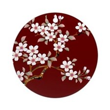 Japanese textile Cherry tree Ornament (Round)