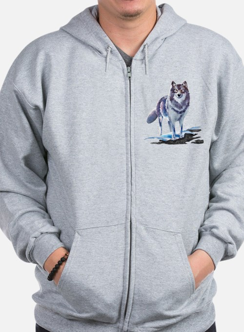 Wolves In Fall Zip Hoodie