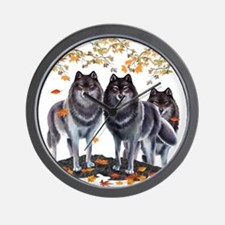 Wolves In Fall Wall Clock