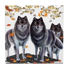 Wolves In Fall Tile Coaster