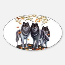 Wolves In Fall Oval Sticker (10 pk)