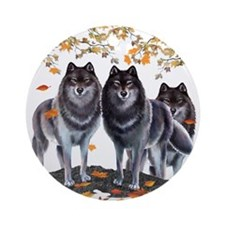 Wolves In Fall Ornament (Round)