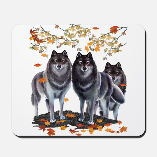 Wolves In Fall Mousepad