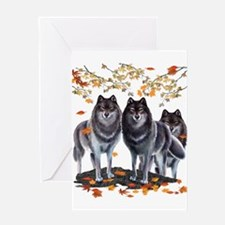 Wolves In Fall Greeting Card