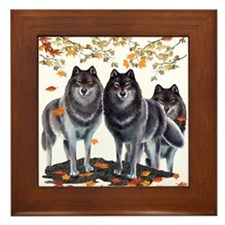 Wolves In Fall Framed Tile