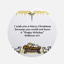 Merry Christmas L Ornament (Round)