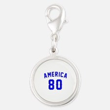 America 80 Birthday Silver Round Charm