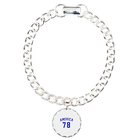 America 78 Birthday Charm Bracelet, One Charm