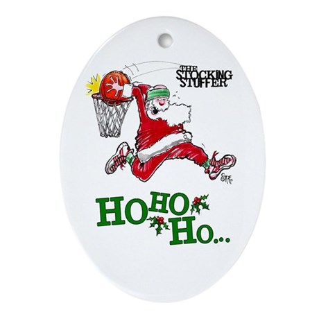 Basketball Santa Oval Ornament