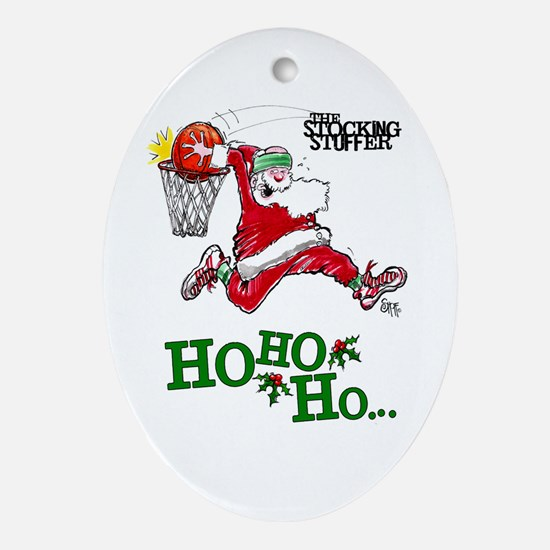 Basketball Santa Oval Ornament