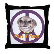 Pugs 4 Peace Throw Pillow