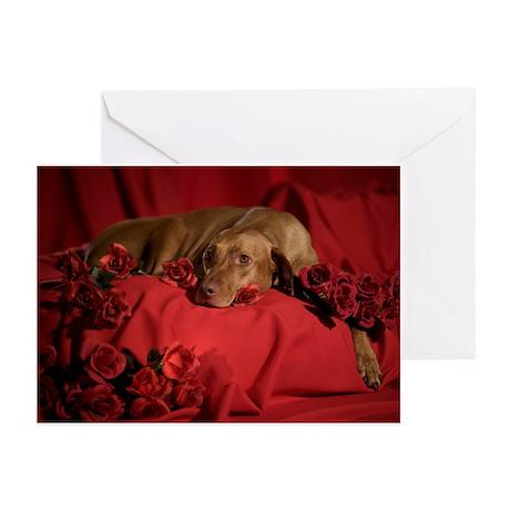 Vizsla Romantic Greeting Cards (Pk of 10)