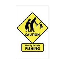 Elderly People Fishing Rectangle Decal