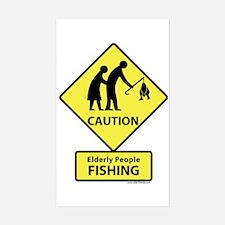 Elderly People Fishing Rectangle Decal