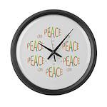 PEACE LOVE AND JOY Large Wall Clock
