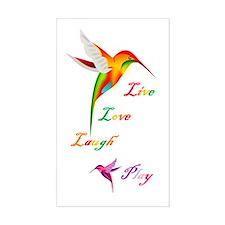 Hummingbird Live Love Laugh P Rectangle Decal