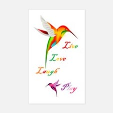 Hummingbird Live Love Laugh P Rectangle Decal