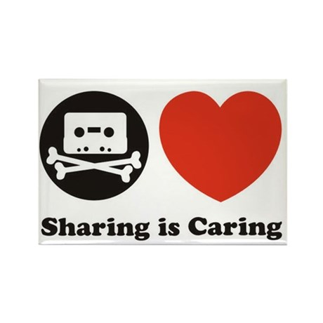 sharing is caring, pro piracy Rectangle Magnet (10