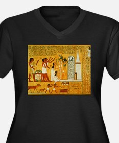 Egyptian Art Women's Plus Size V-Neck Dark T-Shirt