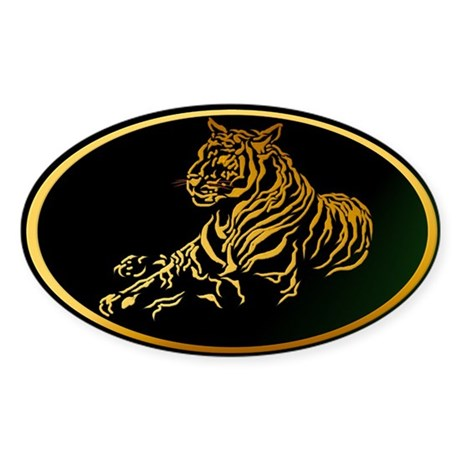 Gold Tiger Oval Sticker