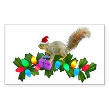 Squirrel Christmas Lights Rectangle Decal
