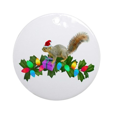 Squirrel Christmas Lights Ornament (Round)