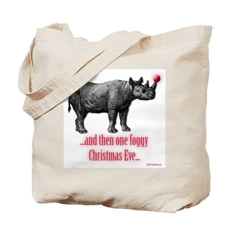Red Nosed Rhino Tote Bag