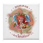 """Sensational Sicilians "" Tile Coaster"
